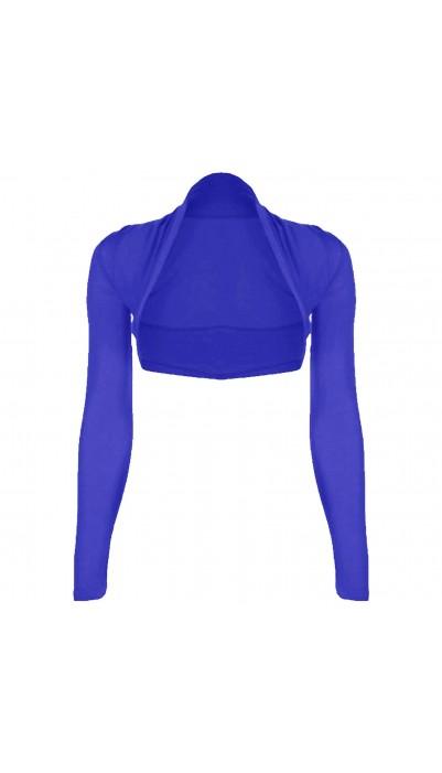 12-14, Royal Blue Ladies Long Sleeve Shrug Womens Bolero Cardigan Top M//L